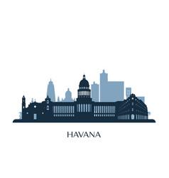 Havana skyline monochrome silhouette vector