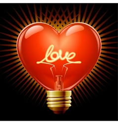 Heart light bulb vector