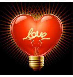 heart light bulb vector image