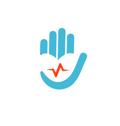 helath care logo heart in hand with pulse vector image