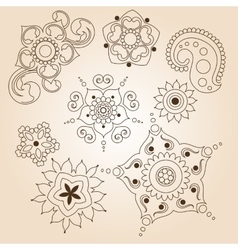 Henna tattoo doodle set Mehndi linear elements on vector