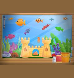 Home aquarium concept background cartoon style vector