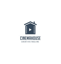 house and negative film for movie production logo vector image