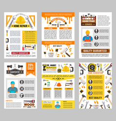 House repair tool banner set construction design vector
