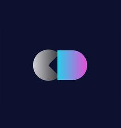 Initial alphabet letter cd c d logo company icon vector