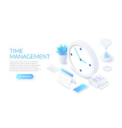 isometric time management banner with character vector image