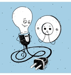 Lamp and socket caricature vector