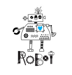 little cute robot and the inscription of the vector image