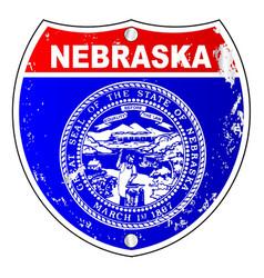 Nebraska flag icons as interstate sign vector