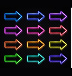 neon arrow sign set on dark transparent background vector image