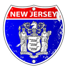 New jersey flag icons as interstate sign vector