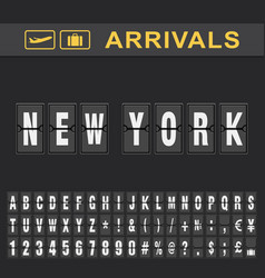 new york airport time table for departures and vector image