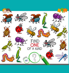 One a kind game with insect characters vector