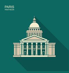 pantheon in paris france landmark icon in flat vector image
