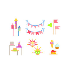 party symbols set celebration birthday carnival vector image