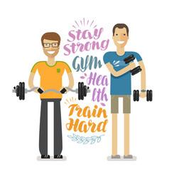 People in gym sport bodybuilding concept vector