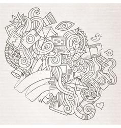 Photography doodles elements sketch background vector