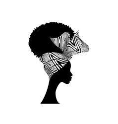 Portrait beautiful afro women head wrap ankara vector