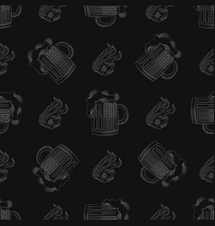 Pub print seamless pattern with mug of beer and vector