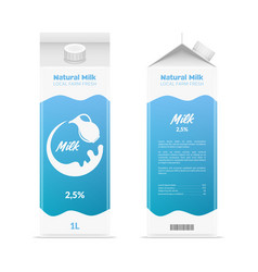 realistic detailed 3d milk carton package set vector image