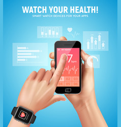 realistic smart watch health composition vector image