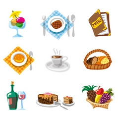 Restaurant icon set vector