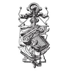 Sculpture symbol degrees subtlety vintage vector