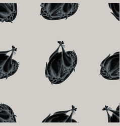 seamless pattern with hand drawn stylized turkey vector image