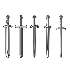 set ancient swords in engraving style vector image