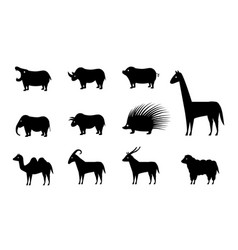 set animal icons in silhouette style vector image