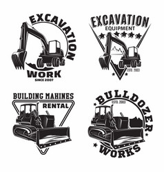 set excavation work emblems design vector image