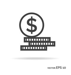 Set of money outline icon black color vector