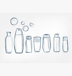 Shampoo cosmetics jars line art sketch outline vector