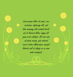 simplistic spring background with yellow flowers vector image