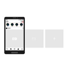 smartphone with carousel interface post on social vector image