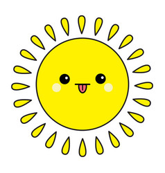 Sun shining contour icon set kawaii face showing vector