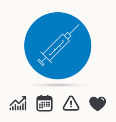 Syringe icon injection or vaccine instrument vector