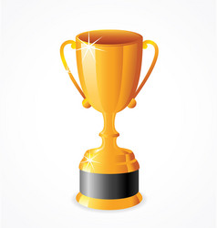 Tall gold shiny trophy cup vector