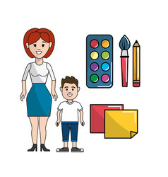 Teacher and student with watercolor tools and vector