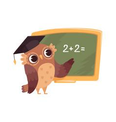 Teacher at blackboard isolated cartoon clever owl vector