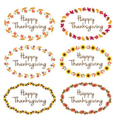 thanksgiving graphics with oval frames vector image