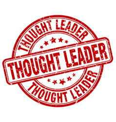 Thought leader red grunge stamp vector
