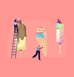 tiny characters on ladders decorate ice cream with vector image