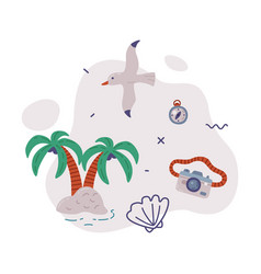 travel or vacation objects set tropical palm vector image