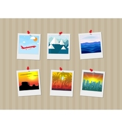 Travel photos pinned to wall vector image