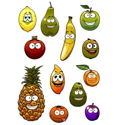 Tropical and garden fruits cartoon characters vector