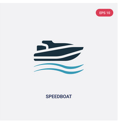 Two color speedboat icon from nautical concept vector