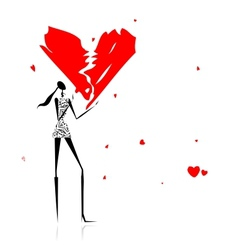Valentine day Girl with broken heart vector