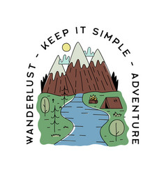Vintage camp patch logo mountain life badge hand vector