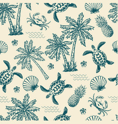 vintage monochrome tropical seamless pattern vector image